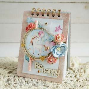 hand-made scrapbooking notesy notes z jednorożcem