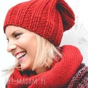 Czapka handmade, robiona-na-drutach, wełna, ciepła