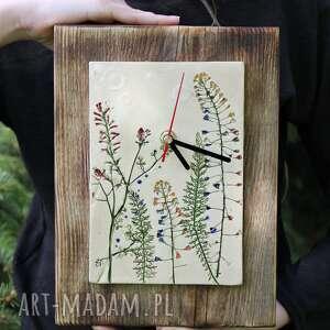 zegar na desce majowa łąka, zegar, zegarek, drewniany, ceramiczny