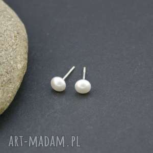 Kolczyki srebro 925 perła white, kolczyki, srebrne, wkrętki, perełki, płaskie