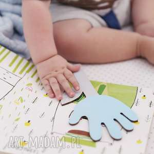 Zakładka do książki ręcznie robiona Łapka-Kwiatek (Błękitny),