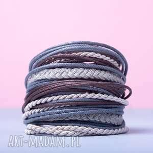 bransoletki whw big mess - grey scale, sznurkowa, sznureczkowa, zwijana, zawijana