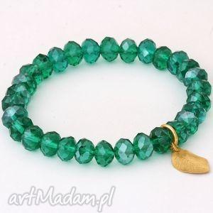 Emerald crystal with leaf pendant. - ,kryształek,listek,