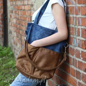 kangoo slim sawana denim brown, torba, torebka, dżinsowa, niebieska, brązowa