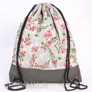 Skórzane kwiaty, torba, plecak, worek, ekoskóra