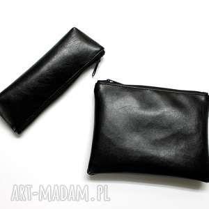 zestaw piórnik i kosmetyczka - czarny z perłowym połyskiem, elegancka