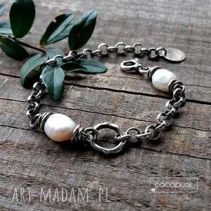 bransoleta z perłami - masywna, srebro 925, srebro, perły, gruba, łańcuszkowa