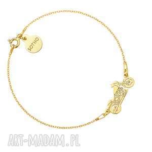 sotho złota bransoletka z motocyklem - żółte, złoto