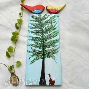 dekoracje wiosenne drzewo z ptaszkami i lisem, ptaki, lis, malowane