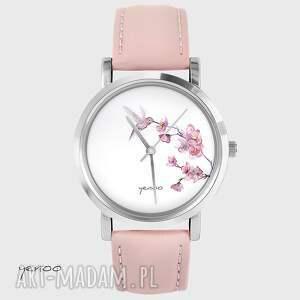 Prezent Zegarek, bransoletka - Koliber pudrowy róż, skórzany, zegarek, koliber