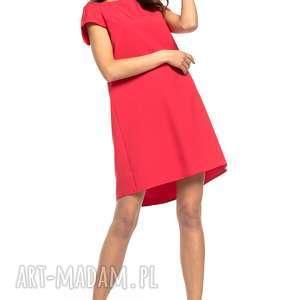 sukienki sukienka z kontrafałdą na plecach, t261, czerwona, sukienka, prosta