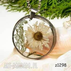 Prezent z1298 Naszyjnik z suszonymi kwiatami herbarium, naszyjnikzkwiatów, medalion