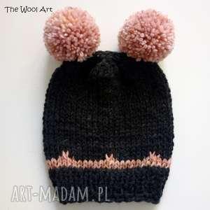 dziecięca czapka z pomponami, dziecko, czapka, beret, wełniana, na drutach