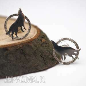 srebne kolczyki wilki, natura, srebro, sztyfty, minimalistyczne