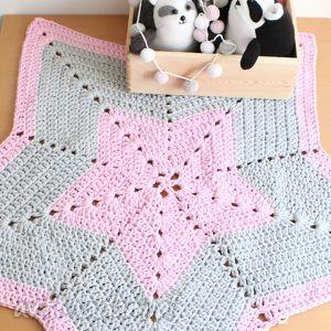 dywan pink star - dywan, szydełkowy, gwiazda, dekoracja, pokój, dziecięcy