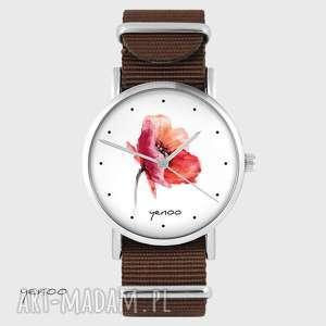 zegarki zegarek yenoo - mak brązowy, nato, zegarek, bransoletka, kwiat