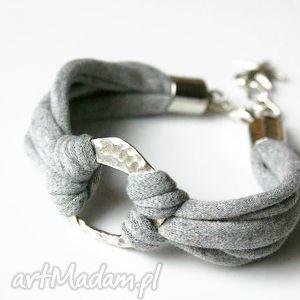 bransoletka bawełniana, bransoletka, sznurki, jasnoszara, elastyczna