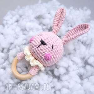 grzechotka-gryzak zajączek niemowlęca zabawka, oryginalny, prezent