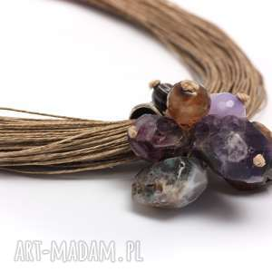 odcienie fioletu na lnie - ametyst, len, naturalnie, agat, jadeit