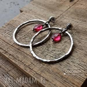 srebro i kwarc rÓŻowy - kolczyki wiszĄce koŁa, koła, z kamieniami, nowoczesne, modne