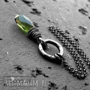 srebro i kwarc zielony/oliwkowy- naszyjnik, oliwkowy, z kwarcem, kamieniem