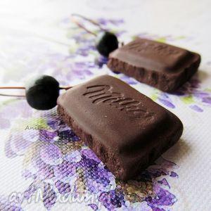KOLCZYKI - czekoladki z koralikiem, kolczyki, czekoladka, masa, modelina, fimo