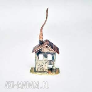 wisiorek - domek miedź, alpaka i mosiądz, dom, metaloplastyka, prezent