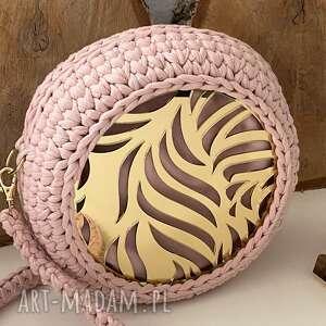 handmade na ramię szydełkowa damska torebka ze złotą pleksi
