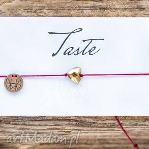 ręcznie zrobione bransoletki whw taste big gold heart on red string