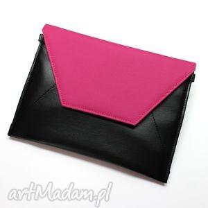 kopertówki kopertówka - czarna i klapka fuksja, elegancka, nowoczesna, wizytowa