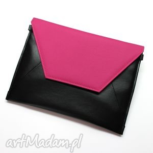 hand-made kopertówka - czarna i klapka fuksja