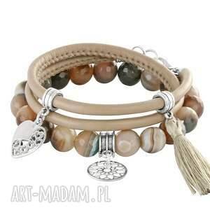 natural - warm shades of beige 2, agat, rzemień, serce
