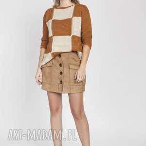 handmade swetry sweter w kratę, swe172 karmel/beż mkm