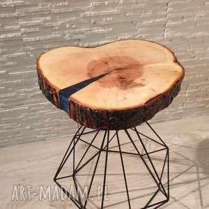 stolik drewniany z żywicy epoksydowej - plaster klonu, stolik, żywica, drewno