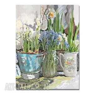 obraz na płótnie białe żonkile narcyzy i wiosenne szafirki 60x80, kwiaty