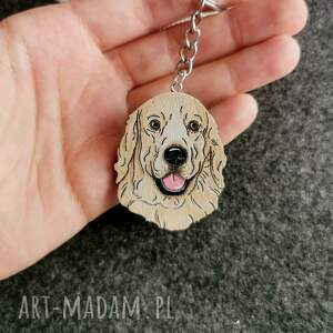 brelok golden retriever, pies, ręcznie malowany, pies