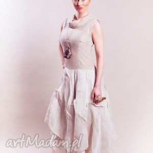 beżowa lniana sukienka - sukienka, len, lniana, beżowa, artystyczna