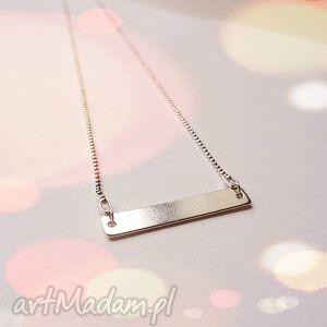 Naszyjnik z blaszką, prostokąt, celebrytka, srebro, łańcuszek, modna, elegancki