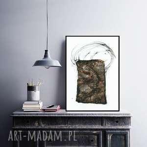 Prezent A3 - ręcznie malowany, abstrakcja, minimalizm, abstrakcja czarno-biała