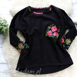 ręczne wykonanie bluzy dresowa bluza oversize folkowa cleo kwiaty folk