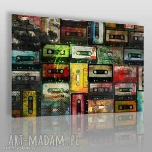 obraz na płótnie - kasety retro 120x80 cm 18301 , kasety, retro, oldschool