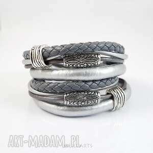 bransoletki bransoletka - szaro srebrna, bransoletka, naszyjnik, owijana, rzemienie