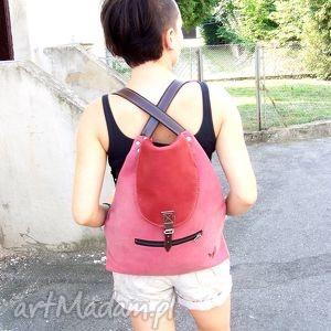 plecak/torba 2w1 skóra brudny róż, skóra, różowy, brudny, plecak, torba