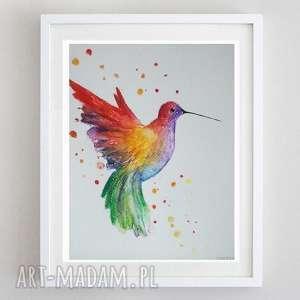 kolorowy ptak-akwarela formatu 18/24 cm, akwarela, wielobarwny, ptak