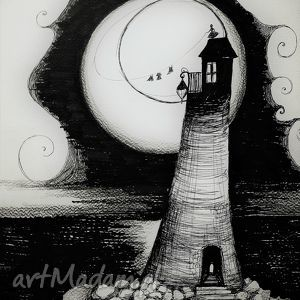 Rysunek piórkiem LATARNIA MORSKA, rysunek, morze, latarnia, woda, księżyc, fale