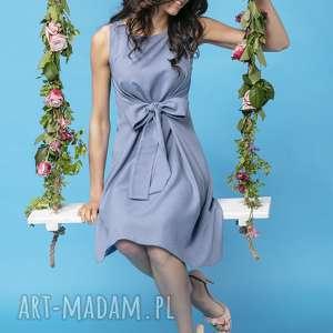 sukienki letnia sukienka wiązana z imitacji lnu, t280, jasnoniebieski