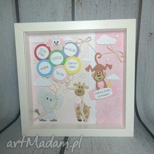 Prezent Metryczka Zoo dla dziewczynki, narodziny, urodziny, metryczka, prezent