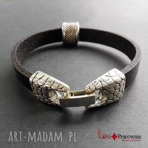 bransoletka skórzana czarna z ozdobnym zapięciem zegarkowym, skóra, rzemień