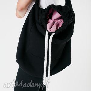 ręcznie robione na ramię toba dzianinowa worek czarno-wrzosowa