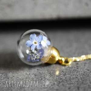 Prezent 925 MINI pozłacany srebrny łańcuszek -Kwiaty niezapominajki-, kwiaty